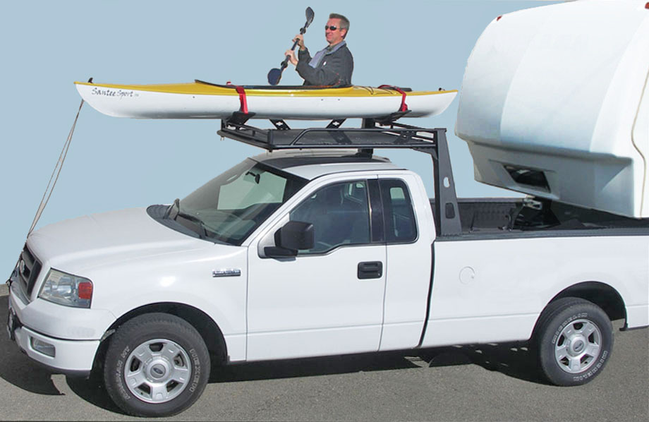 Overhead Kayak Truck Rack is sturdy and mounts with a 5th Wheel Trailer