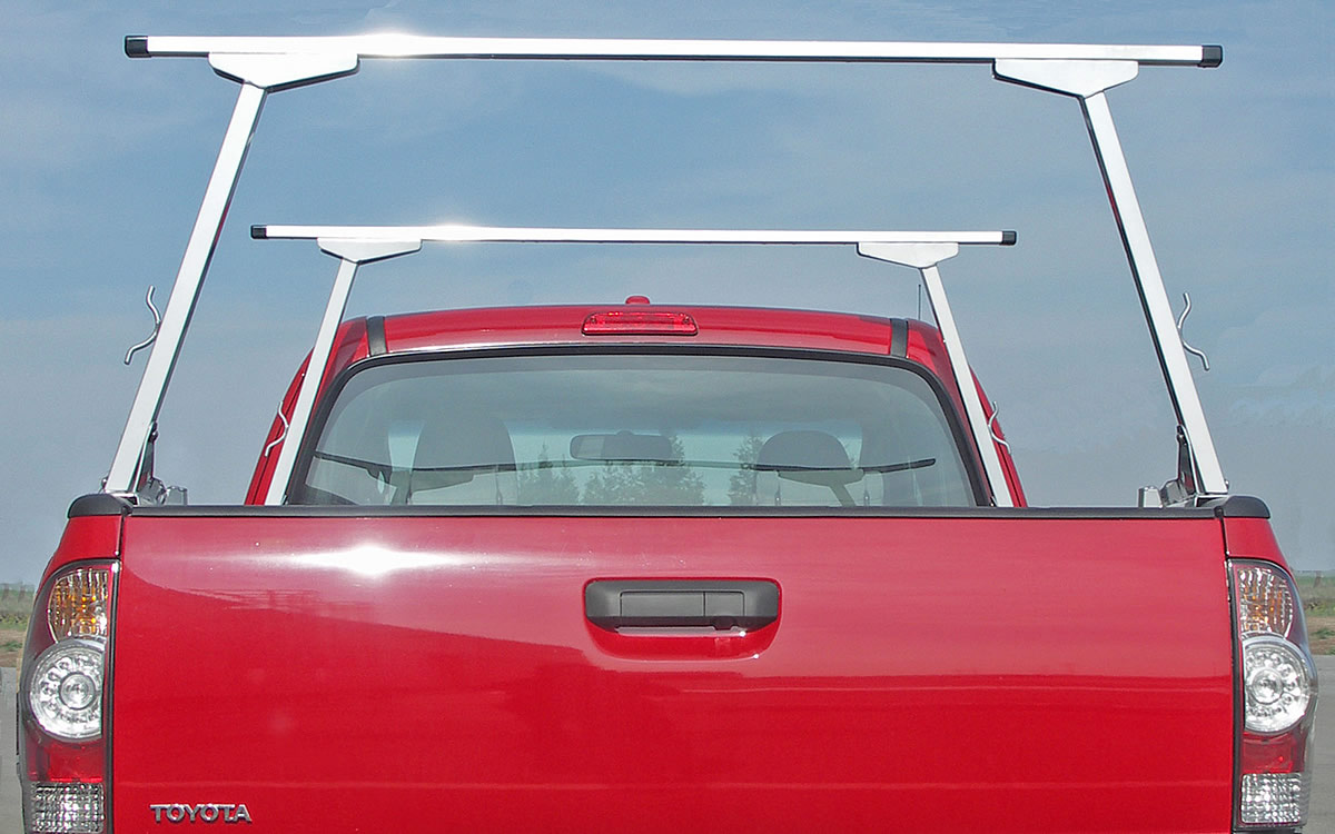 Rear view of Paddler's Truck Kayak Rack with zinc plated legs