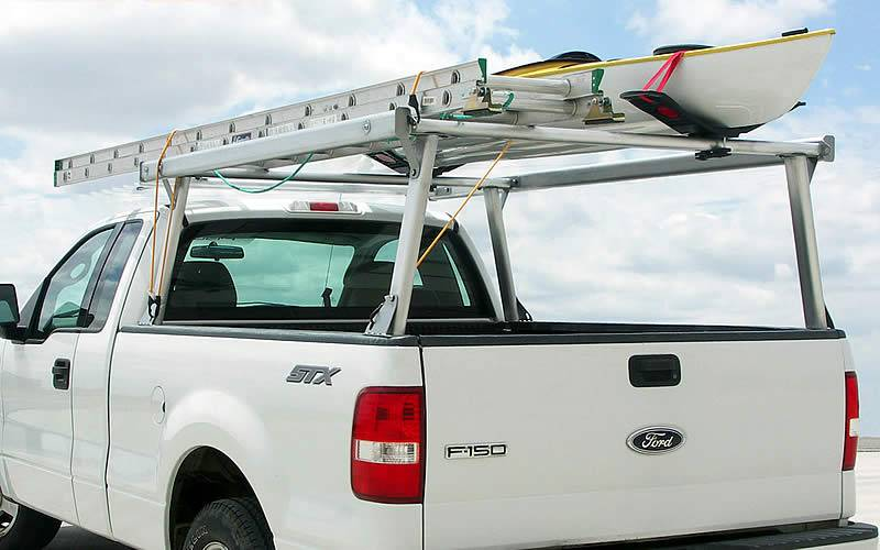 Schooner Truck Rack for Cabs Over 24 Inches, Fleetside, Standard Legs, Brushed Frame With Bead Blasted Base - PN #83910320