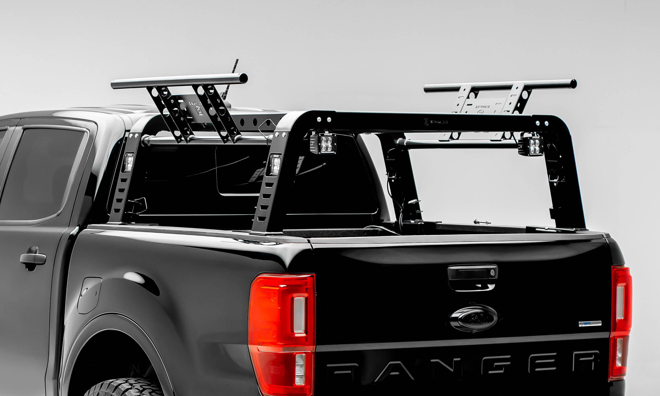 2019-2021 Ford Ranger Overland Access Rack With Two Lifting Side Gates and (4) 3 Inch ZROADZ LED Pod Lights - PN #Z835101