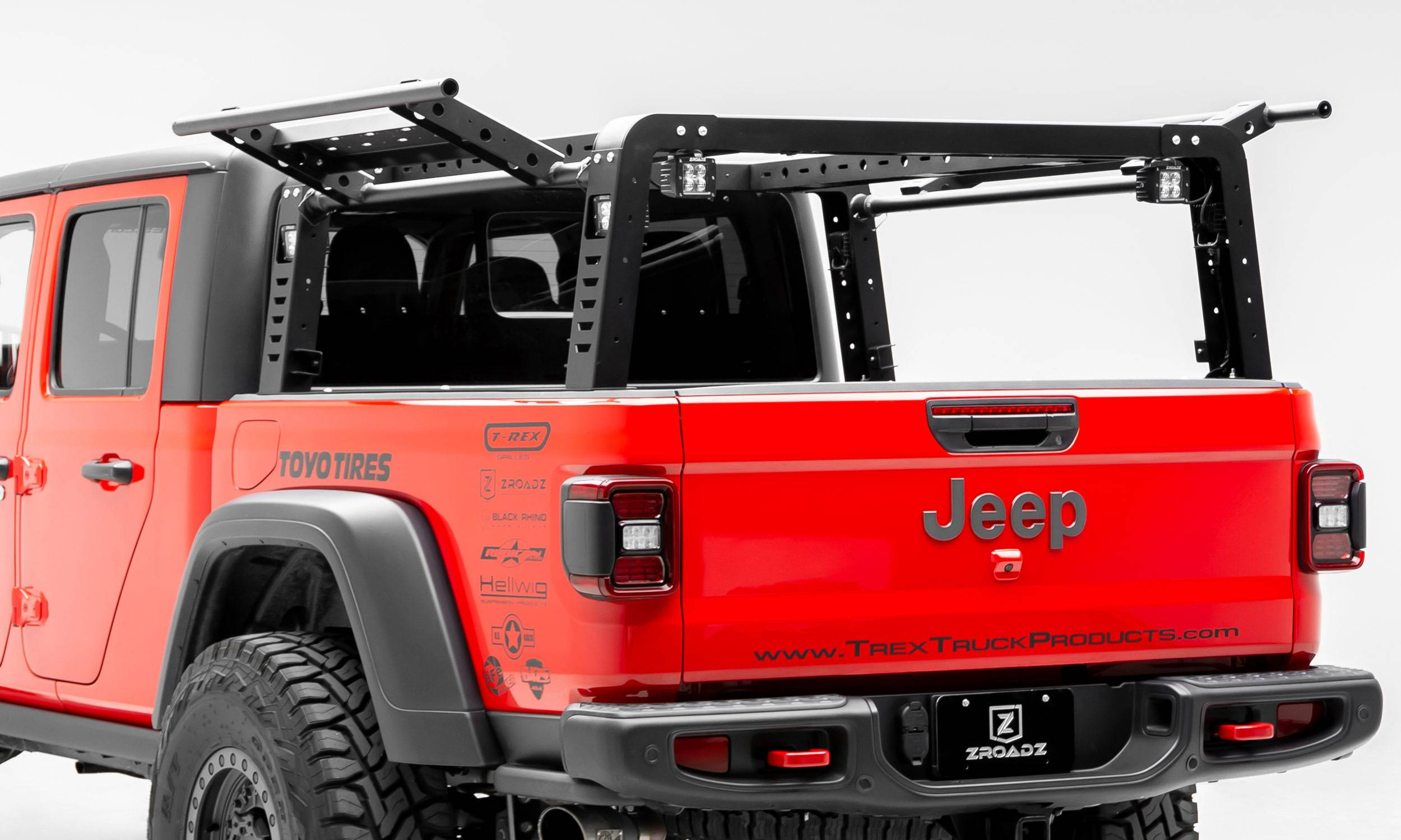2019-2020 Jeep Gladiator Overland Access Rack With Side Gates, Incl. (4) 3 Inch ZROADZ LED Pod Lights - PN #Z834101
