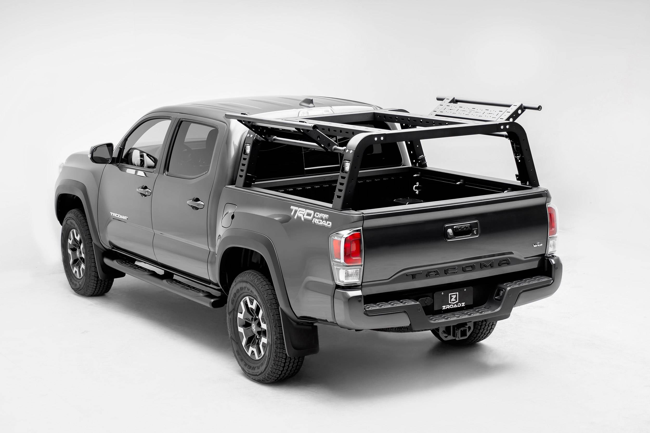 2016-2021 Toyota Tacoma Overland Access Rack With Side Gates, Incl. (4) 3 Inch ZROADZ LED Pod Lights - PN #Z839101