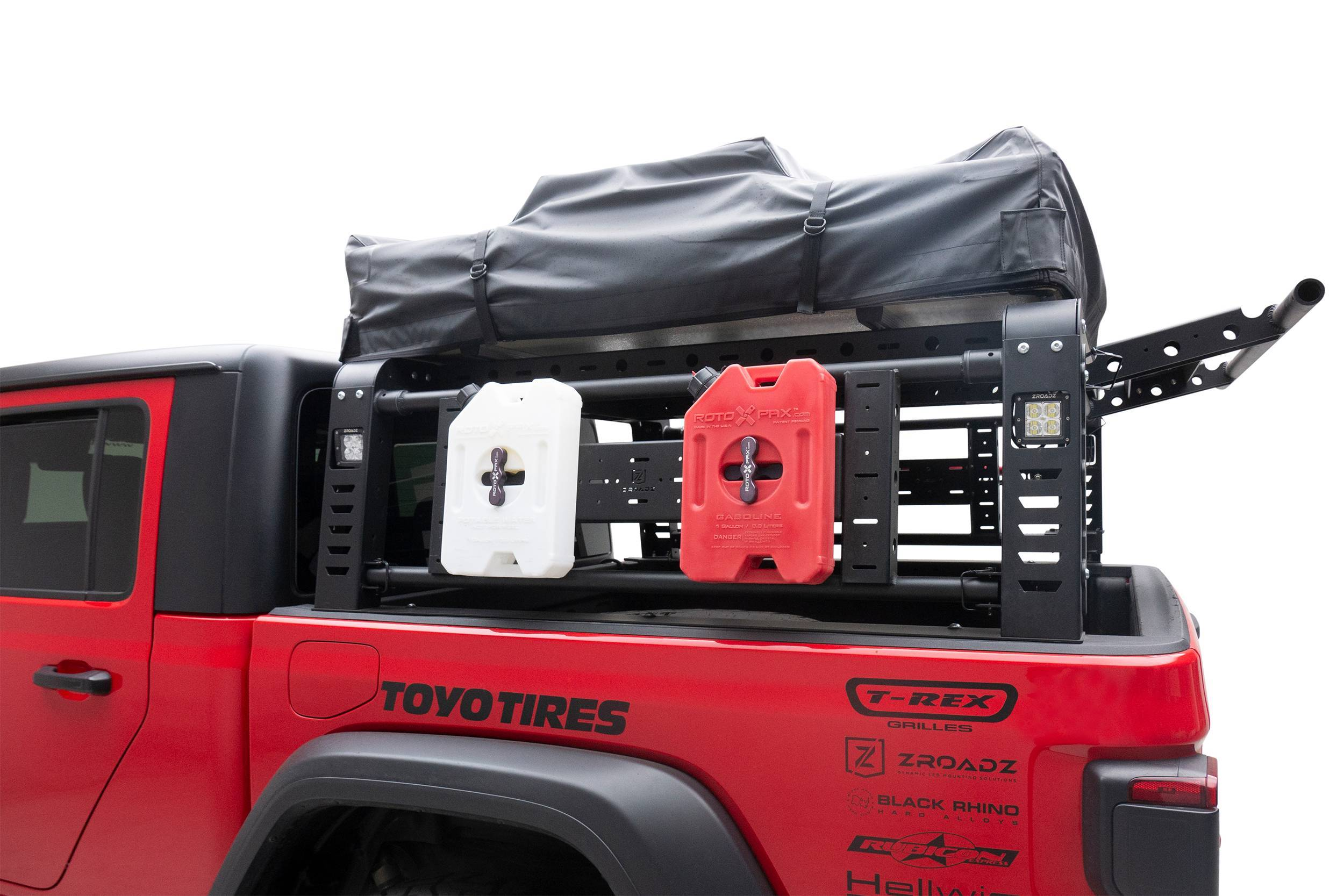 2019-2021 Jeep Gladiator Access Overland Rack With Three Lifting Side Gates, For use on Factory Trail Rail Cargo Systems - PN #Z834211