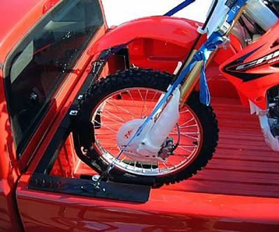 Motorcycle Grip Truck Rack 2 Wheel Chocks, Black - PN #82810711 - Image 1