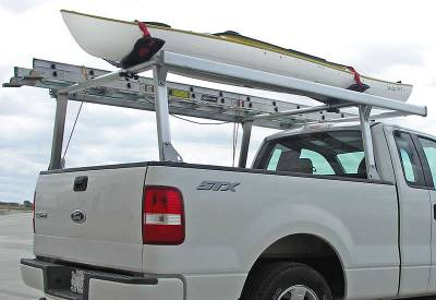 Schooner Truck Rack for Cabs Under 24 Inches, Fleetside, Standard Legs, Brushed Frame With Bead Blasted Base - PN #83910220 - Image 4