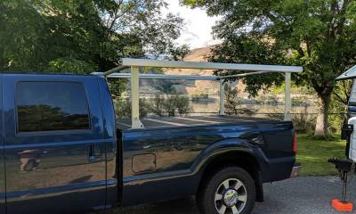 Schooner Truck Rack for Cabs Under 24 Inches, Fleetside, Wide Legs, Brushed Frame With Bead Blasted Base - PN #83910520 - Image 2