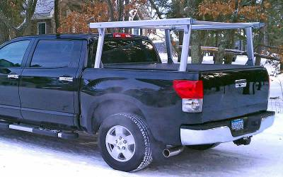 Schooner Truck Rack for Cabs Over 24 Inches, Fleetside, Standard Legs, Brushed Frame With Bead Blasted Base - PN #83910320 - Image 7