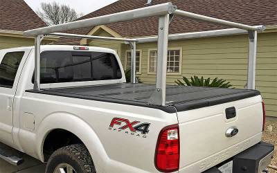 Schooner Truck Rack for Cabs Over 24 Inches, Fleetside, Wide Legs, Brushed Frame With Bead Blasted Base - PN #83910620 - Image 1
