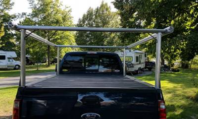Schooner Truck Rack for Cabs Over 24 Inches, Fleetside, Wide Legs, Brushed Frame With Bead Blasted Base - PN #83910620 - Image 3