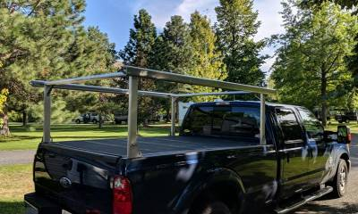 Schooner Truck Rack for Cabs Over 24 Inches, Fleetside, Wide Legs, Brushed Frame With Bead Blasted Base - PN #83910620 - Image 4