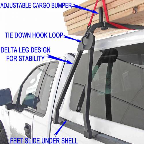 Truck Cap Rack for Caps Under 27 Inches, Tapered Width Bed Rails, Wide Front Bed Rails, Standard Width Rear Bed Rails - PN #84315711 - Image 7