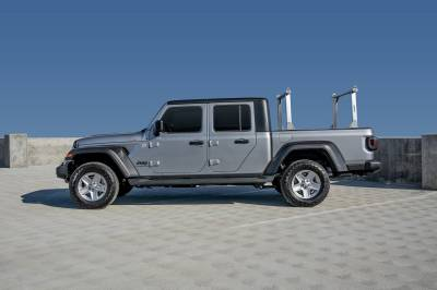 2020-2021 Jeep Gladiator Clipper Truck Rack, Fleetside, Track System, Above Cab Height, Brushed Cross Bar and Legs With Bead Blasted Base - PN #82240150 - Image 2