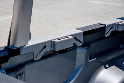 2020-2021 Jeep Gladiator Clipper Truck Rack, Fleetside, Track System, Above Cab Height, Brushed Cross Bar and Legs With Bead Blasted Base - PN #82240150 - Image 4