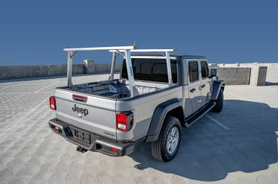 2020 Jeep Gladiator Clipper Truck Rack, Fleetside, Track System, Above Cab Height, Brushed Cross Bar and Legs With Bead Blasted Base - PN #82240150 - Image 5