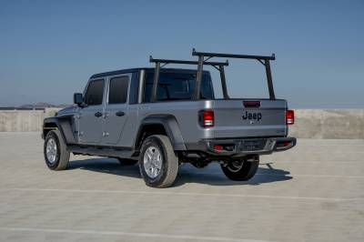 2020 Jeep Gladiator Clipper Truck Rack, Fleetside, Track System, Above Cab Height, All Black Cross Bar, Legs and Base - PN #82240151 - Image 1