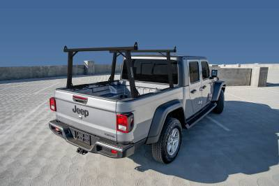 2020 Jeep Gladiator Clipper Truck Rack, Fleetside, Track System, Above Cab Height, All Black Cross Bar, Legs and Base - PN #82240151 - Image 5