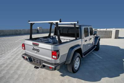 2020 Jeep Gladiator Clipper Truck Rack, Fleetside, Track System, Above Cab Height, Brushed Cross Bar, Black Legs and Base - PN #82240152 - Image 5