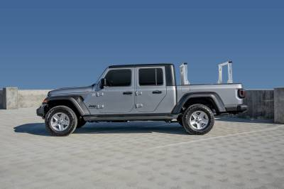 2020-2021 Jeep Gladiator Clipper Truck Rack, Fleetside, Track System, Cab Height, Brushed Cross Bar and Legs With Bead Blasted Base - PN #82240250 - Image 2