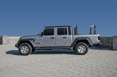 2020-2021 Jeep Gladiator Clipper Truck Rack, Fleetside, Track System, Cab Height, Brushed Cross Bar, Black Legs and Base - PN #82240252 - Image 2