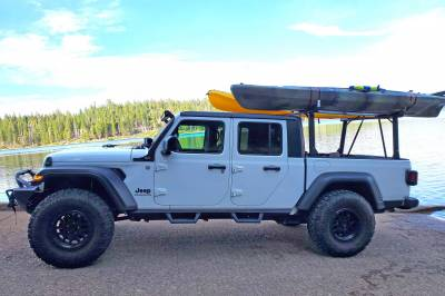 2020 Jeep Gladiator Clipper Truck Rack, Fleetside, Track System, Above Cab Height, All Black Cross Bar, Legs and Base - PN #82240151 - Image 7