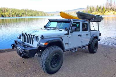 2020 Jeep Gladiator Clipper Truck Rack, Fleetside, Track System, Above Cab Height, All Black Cross Bar, Legs and Base - PN #82240151 - Image 8