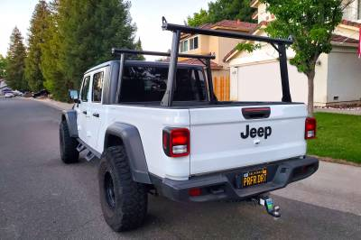 2020 Jeep Gladiator Clipper Truck Rack, Fleetside, Track System, Above Cab Height, All Black Cross Bar, Legs and Base - PN #82240151 - Image 9
