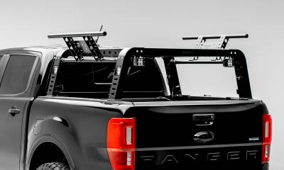2019-2021 Ford Ranger Overland Access Rack With Two Lifting Side Gates and (4) 3 Inch ZROADZ LED Pod Lights - PN #Z835101 - Image 1