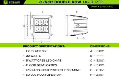 2016-2021 Toyota Tacoma Overland Access Rack With Side Gates, Incl. (4) 3 Inch ZROADZ LED Pod Lights - PN #Z839101 - Image 20